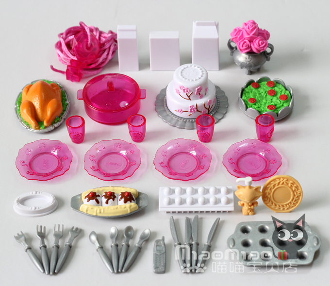 Free shipping doll kitchen sets accessories 36items lot for Kitchen set cake