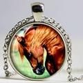 Horse pendant Horse necklace Horse jewelry nature necklace glass Cabochon Necklace