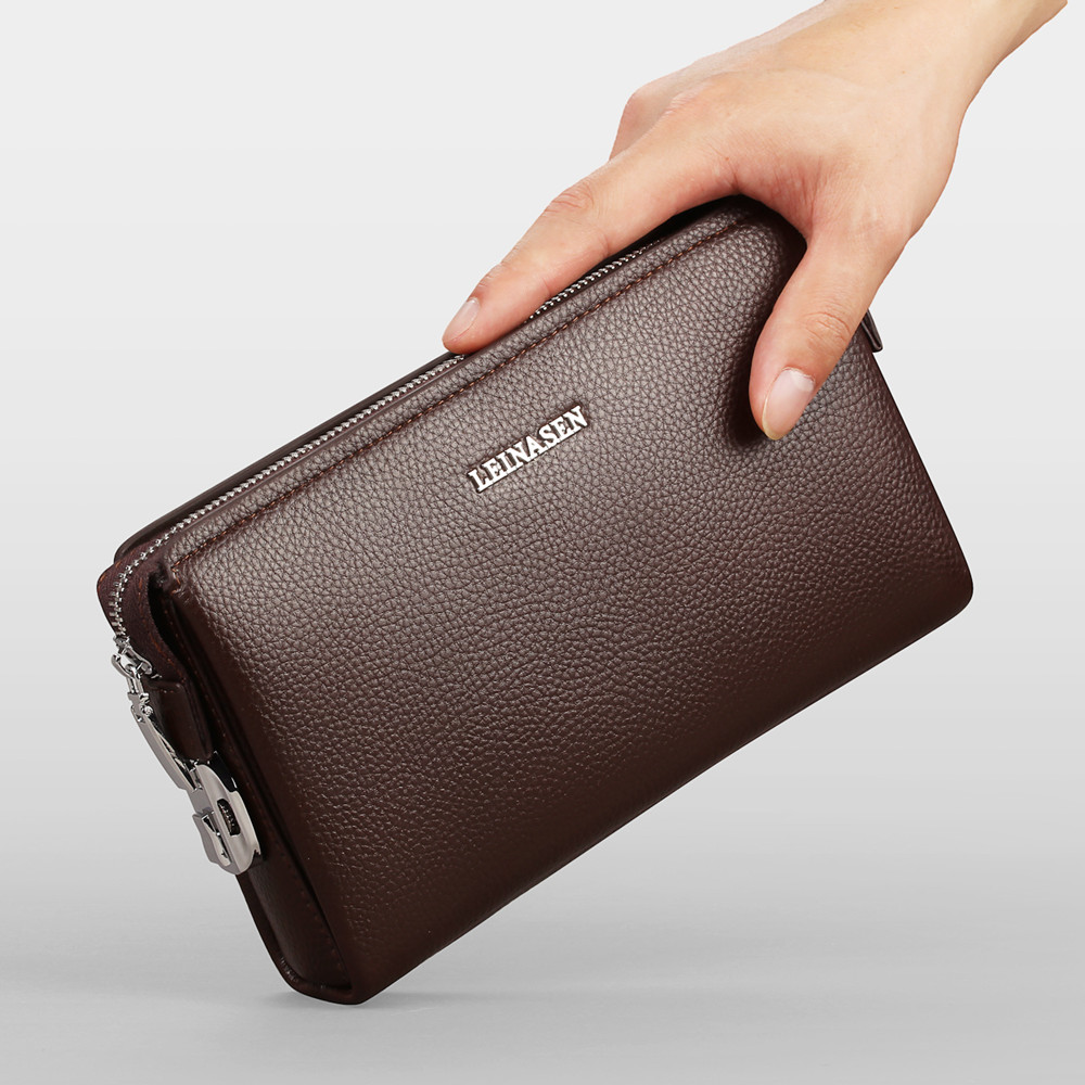 New Brand Design Genuine Leather Men Clutch Bag Anti-theft Security Coded Lock Wallet Purse Male Business Bag Clutch Wallets mim mim mi046ewish32