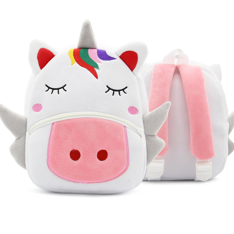 Children School Backpack Cartoon Rainbow Unicorn Design Soft Plush Material For Toddler Baby Girls Kindergarten Kids