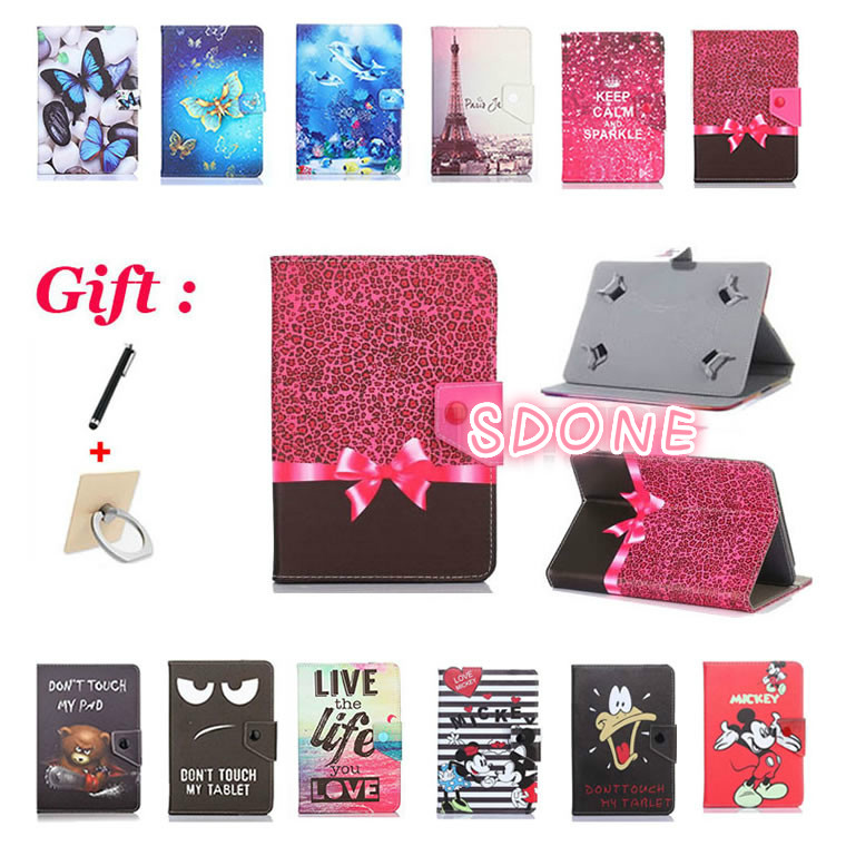 Printed Cover For Alcatel ONETOUCH ONE TOUCH 1T 10 10.1 Inch Tablet Universal 10 Inch PU Leather Cartoon Cover Case + 2 Gifts