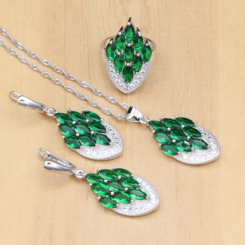 Elegant Silver 925 Jewelry Sets Green Stone White CZ Beads For Women Drop Earrings/Pendant/Ring/Necklace Set