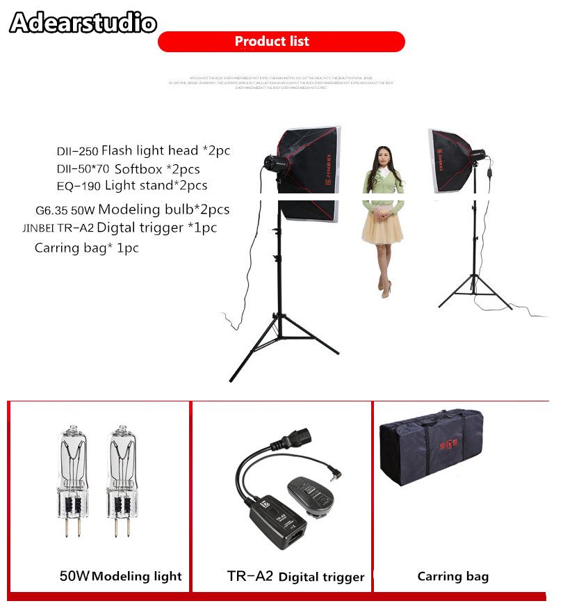 JINBEI 250W Photo Studio Monolight Strobe Flash Lighting Kit with Carrying Bag for Video Shooting and Portrait PhotographyNO00DC selens pro camera bags studio flash strobe lighting set trolley bag se xlpro