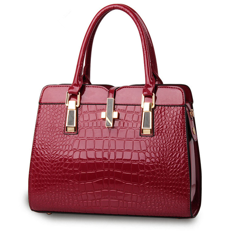 Fashion Casual PU Crocodile Pattern Women Handbag Dark Red Office Lady Shoulder Bag Cross Deoration china s yunnan national style pu leather women s handbag geometric pattern casual cross style square shoulder bag