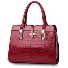 цена на Fashion Casual PU Crocodile Pattern Women Handbag Dark Red Office Lady Shoulder Bag Crosss Ddecoration