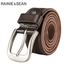 RAINIE SEAN Brand Belt For Jeans Men Real Leather Accessories Belts Male High Quality Cow Genuine Coffee Pin Buckle