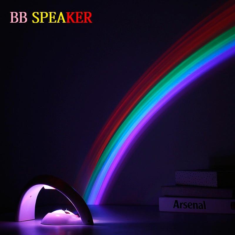 Kids Night Light ABS Led Rainbow Light 1W 6V Magical Rainbow Night Lights 2 Modes Children Table Lamp Living Room BB SPEAKER