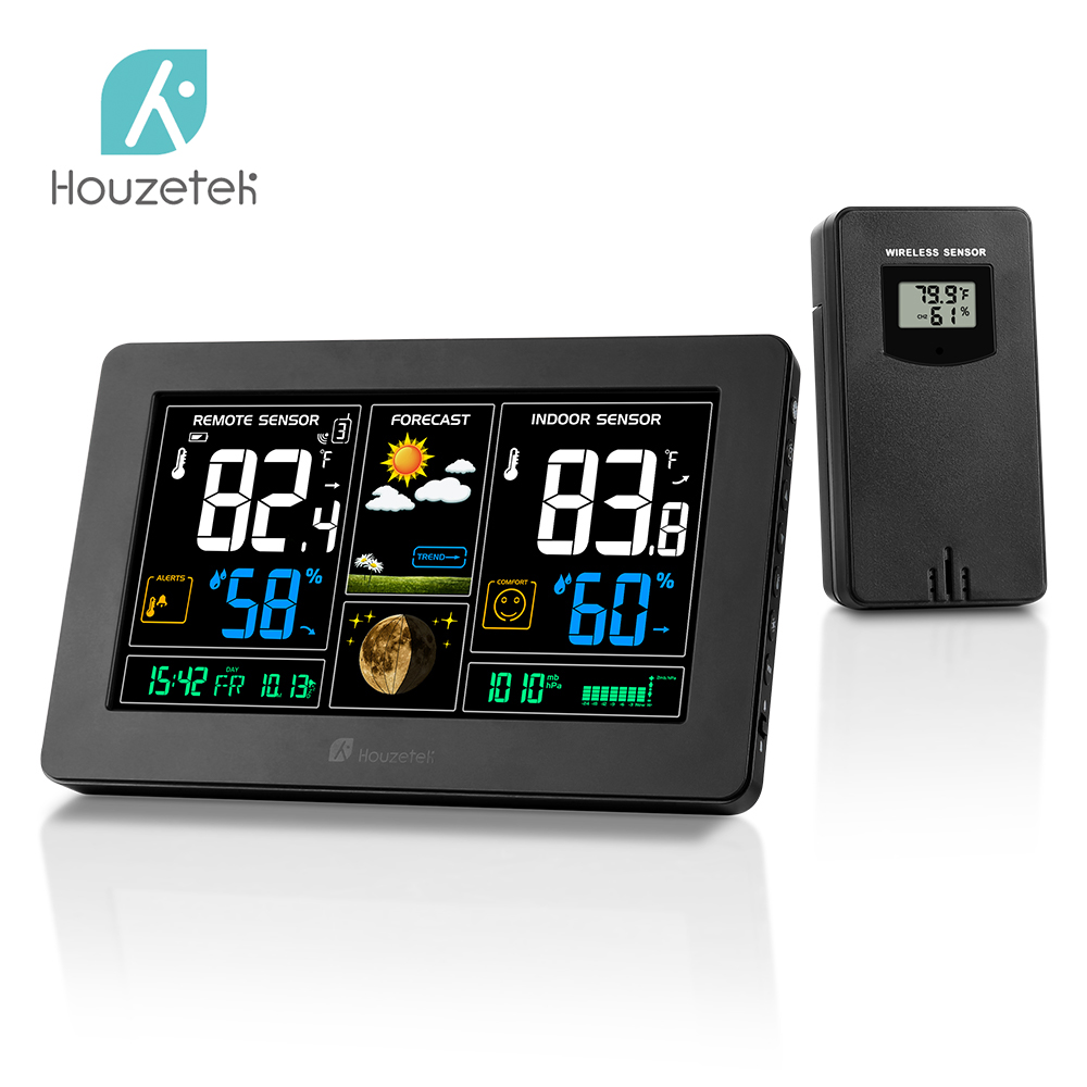The Easy Read Weather Station Clock Remote Outdoor Sensor Color LCD Alarm