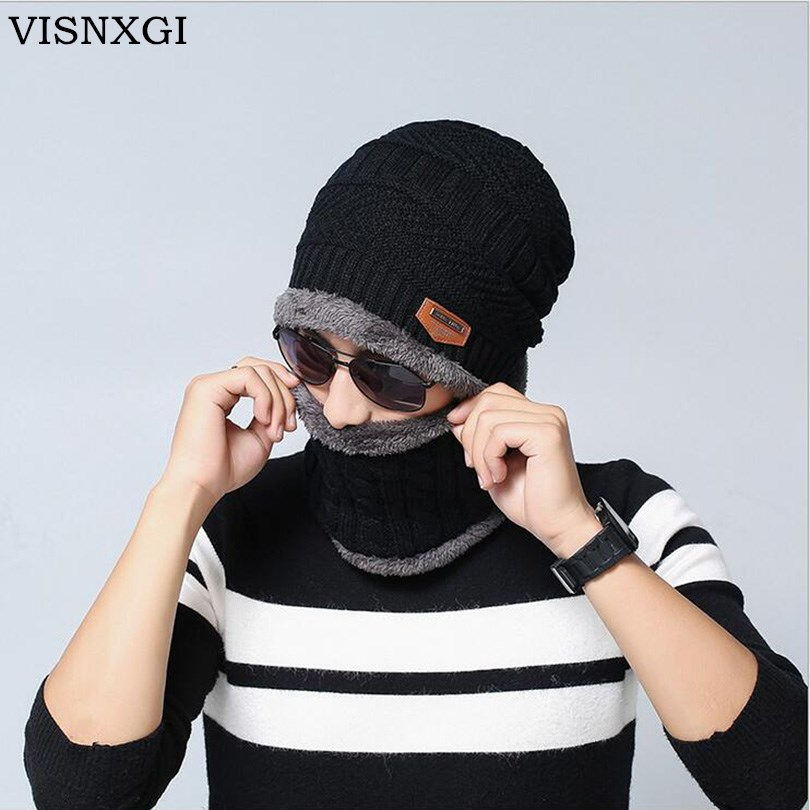VISNXGI Balaclava Knitted Hat Scarf Cap Neck Warmer Winter Hats For Men Women Skullies Beanies Warm Fleece Dad Cap High Quality 35colors silver gold soild india scarf cap warmer ear caps yoga hedging headwrap men and women beanies multicolor fold hat 1pc