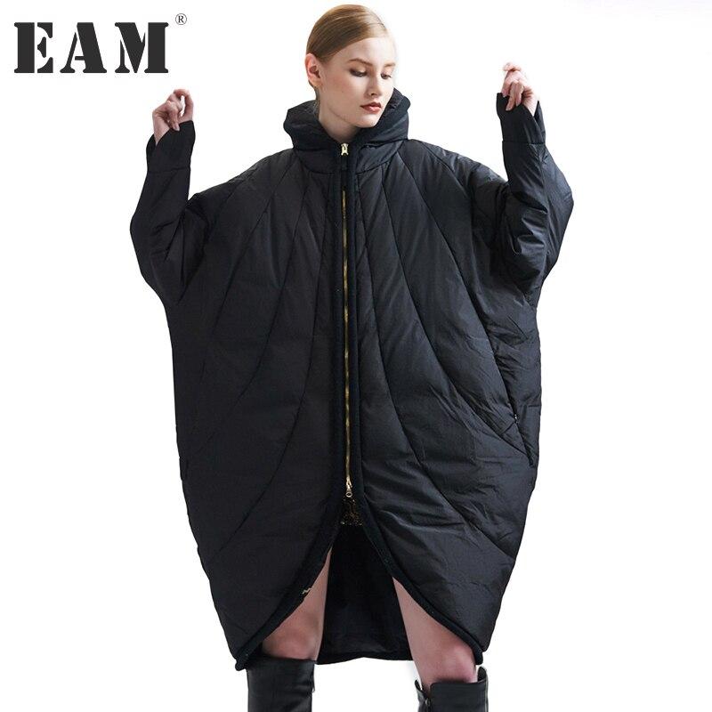 [EAM] 2018 новые зимние Стенд ошейник с длинным рукавом сплошной Цвет черные свободные большие Размеры теплое пальто Для женщин модная куртка ...