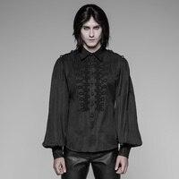 Панк рейв для мужчин Готический Винтаж рубашка Униформа в стиле стимпанк рубашка в стиле ретро модные фонари блузка с длинными рукавами