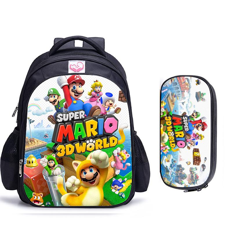 16 Inch Mario Bros Children School Bags Orthopedic Backpack Kids School Boys Girls Catoon Bags Daily Mochila Infantil
