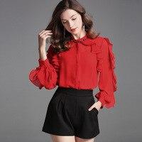 red chiffon blouse 5xl shirts casual bohemian women's blouses and tops ladies summer haute 2019 fashion top lotus trim loose