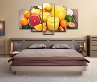 Mordern Painting No Framed Wall Art Oil Pictures Home Decor 5 Panel Poster Fruits Juice HD Printed On Canvas For Living Room