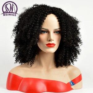 Image 3 - MSIWIGS מסודר מתולתל סינטטי פאות עבור נשים שחור קצר שיער פאה התיכון חלק טבעי האפרו פאות חום סיבים עמידים