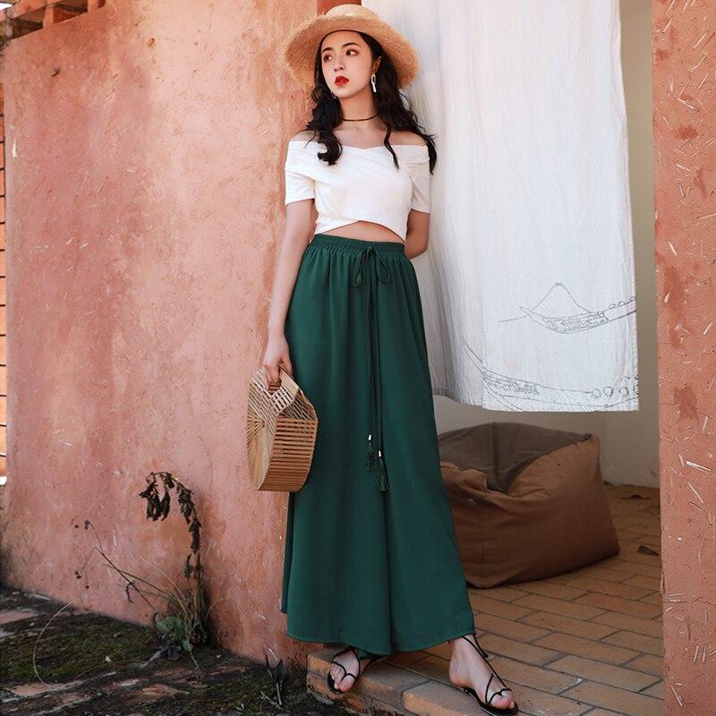 Holiday style   wide     leg     pants   2019 summer chiffon casual   wide     leg     pants   monochrome women's loose high waist   pants