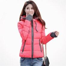 Зима тонкий короткий женский ватные куртки хлопка-ватник С Капюшоном куртка женщин верхняя одежда для женщин