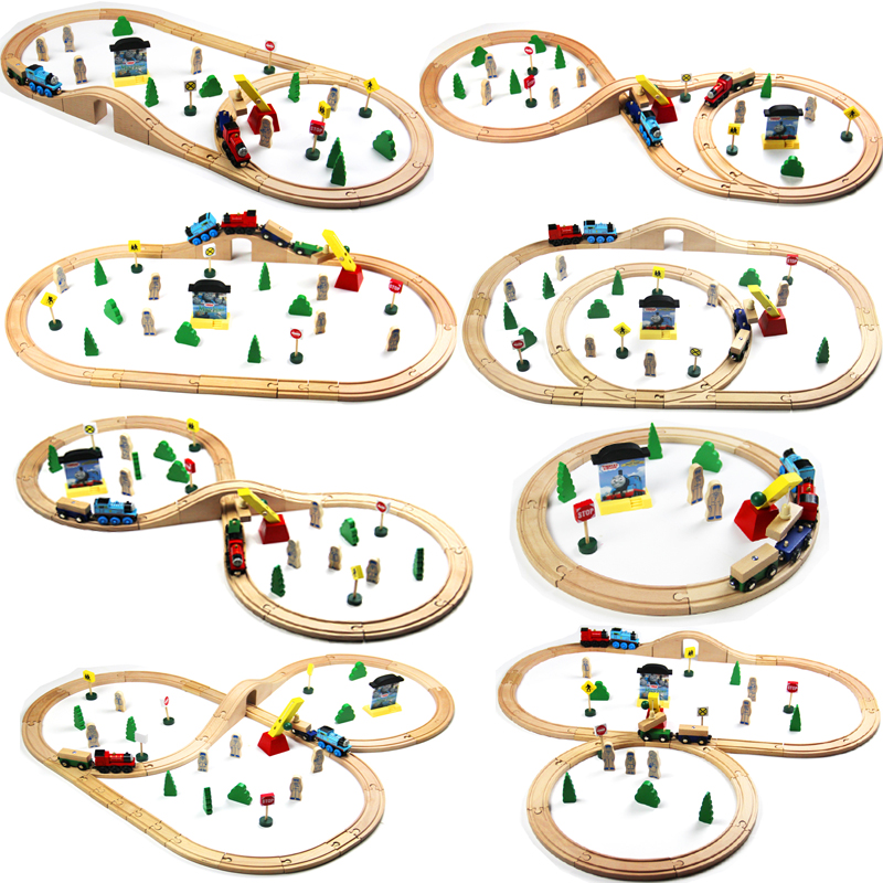Usual Wooden Tracks Train Set Toys Railway Magic Brio Wood Puzzles Educational Toys For Children's Birthday Present(China)