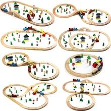 Обычные деревянные дорожки поезд набор игрушек железная дорога Magic Brio деревянные Обучающие игрушки-пазлы для детского подарка на день рождения