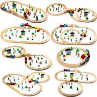 Conjunto de Trem De Madeira Faixas de costume Ferroviária Brinquedos Magia Brio Madeira Puzzles Brinquedos educativos Para presente de aniversário das Crianças