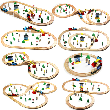 Usual Wooden Tracks Train Set Toys Railway Magic Brio Wood Puzzles educational Toys For Children's birthday present