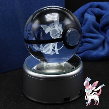 Amazing New design 3D Crystal Pokemon Trainer Pokeball With Syleon Action Figures Pokemon Ball