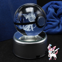 Amazing New design 3D Crystal Pokemon Trainer Pokeball With Syleon Action Figures Pokemon Ball