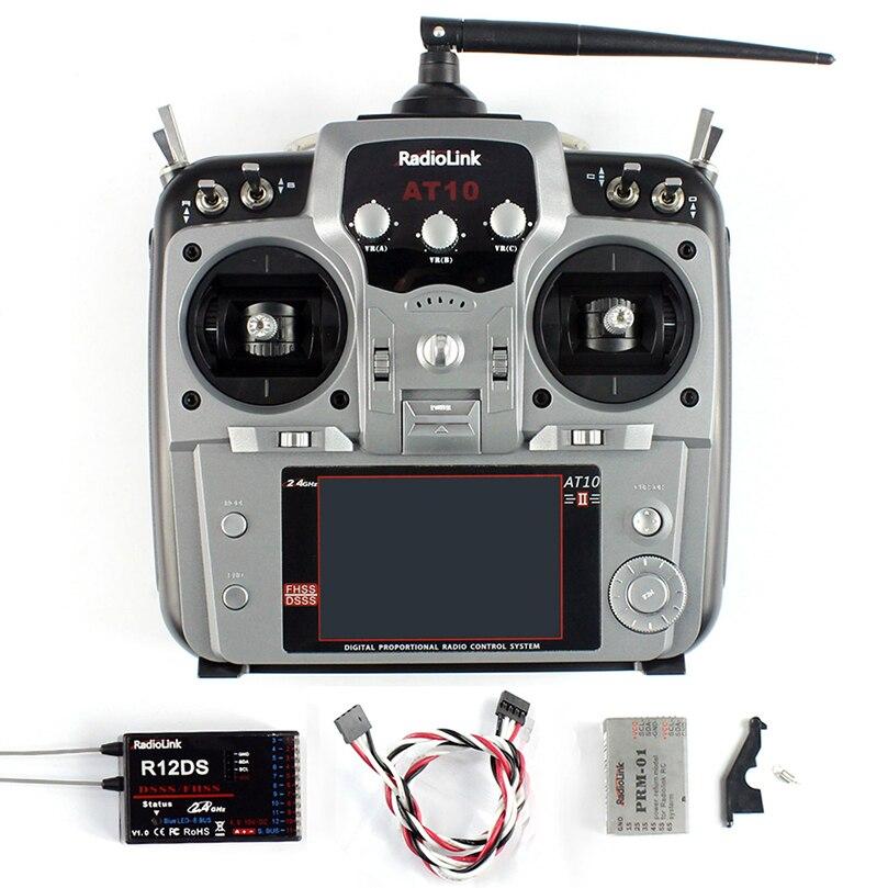 RadioLink AT10 II 2,4 Ghz 12CH transmisor RC con receptor R12DS PRM 01 Módulo de retorno de voltaje para RC helicóptero Quadcopter-in Partes y accesorios from Juguetes y pasatiempos    1