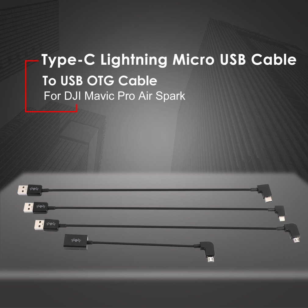 USB OTG Cable to Type-C Lightning Micro USB Data Cable Line for DJI Mavic Pro Air Spark Drone Remote Controller 30cm otg data cable for dji spark mavic 2 pro zoom air mavic pro micro usb type c adapter connector phone tablet to controller
