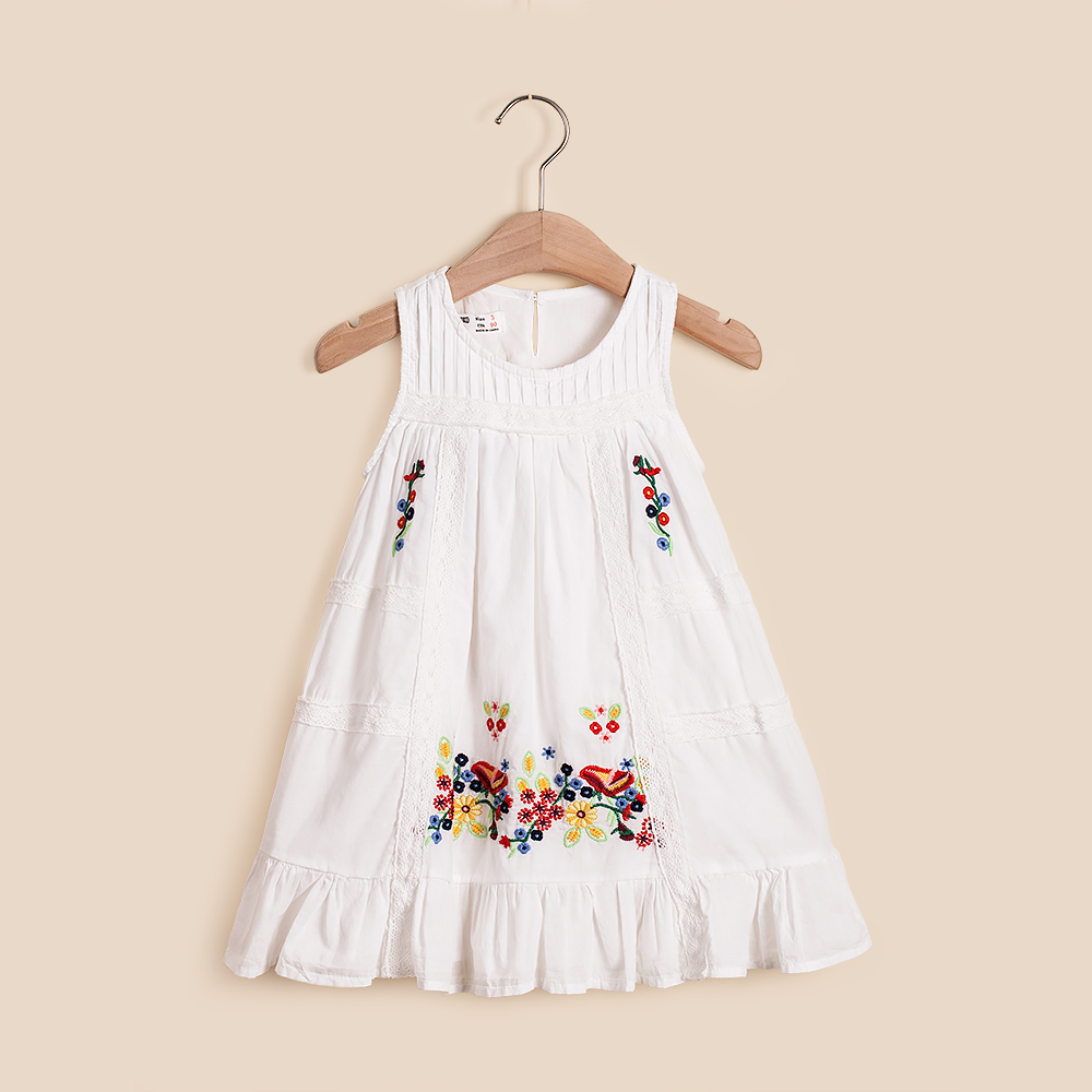 IMMDOS Summer Girls Dress Kids Cotton Dresses for Girl Baby Flower Vestidos Girls Fashion Sleeveless Princess Dresses 2018 New cute summer dress for girls new fashion kid baby girl sleeveless rose flower printed dresses striped casual party dress vestidos