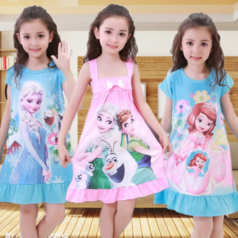 Baby Girl Dress Summer Princess Anna Elsa Dress Cotton Nightgown Pajamas Sofia Dresses Kids Christmas Vestidos