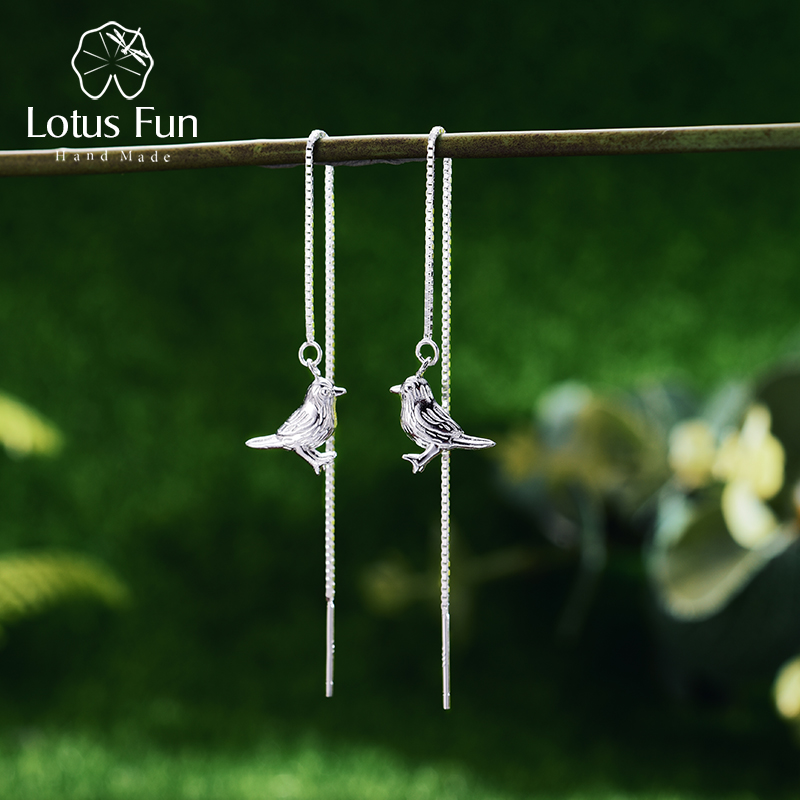 Lótus Divertido Real 925 Sterling Silver Natural Original Handmade Interessante Pássaro Bonito Brincos para Mulheres Brincos de Jóias Finas