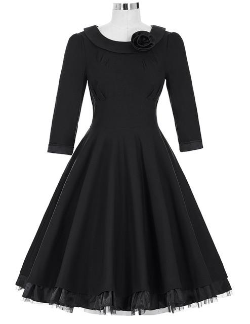 Women Dress 2016 Casual 3/4 Sleeve Flower Decorated Black Red Green Autumn Winter Dress 1950s 60s Rockabilly Swing Party Dress