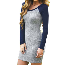 2016 New Fashion Women Clothing Sexy Bodycon Dress Mini Dress Grey and Blue Color Block O-Neck Long Sleeve Dress