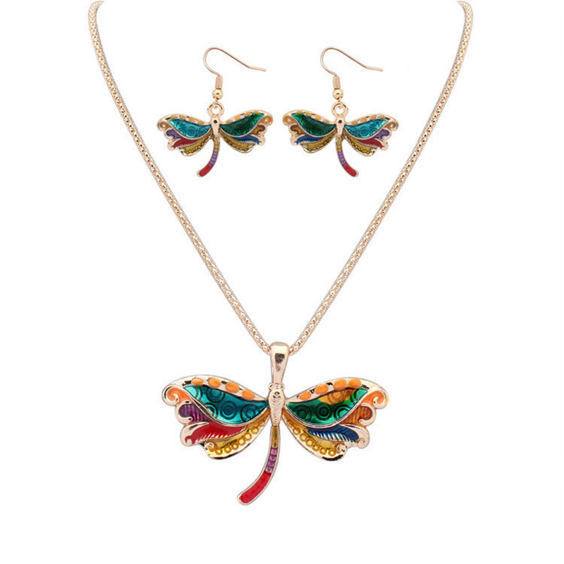 Fashion suit jewelery colorful charm naughty drop oil Dragonfly pendant necklace and earings for Women party Jewelry accessories