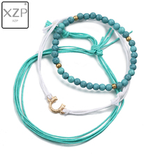 XZP BOHO 3 Pcs/Set Multilayer Turquoises Beads Stretch Women Bracelet Elastic Bangle Rope Chain for Multi Layer