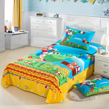 New high quality home children bedding set of Mario, 2 pillow case, 1 bed sheet and 1 duvet cover