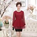 Плюс размер 4XL Кружева твердые черные Алмазы лонг puff рукавом элегантная блузка 2017 мода О-Образным Вырезом дамы пуловер рубашки женские топы