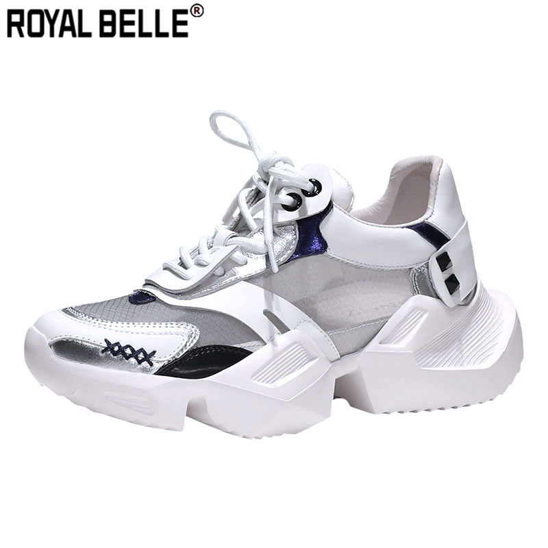 Fein Royal Belle Mesh Sehen Durch Plattform Turnschuhe Plattform Nähen Creeper Sneakers Frauen Lace Up Echtes Leder Tenis Beiläufige Schuhe