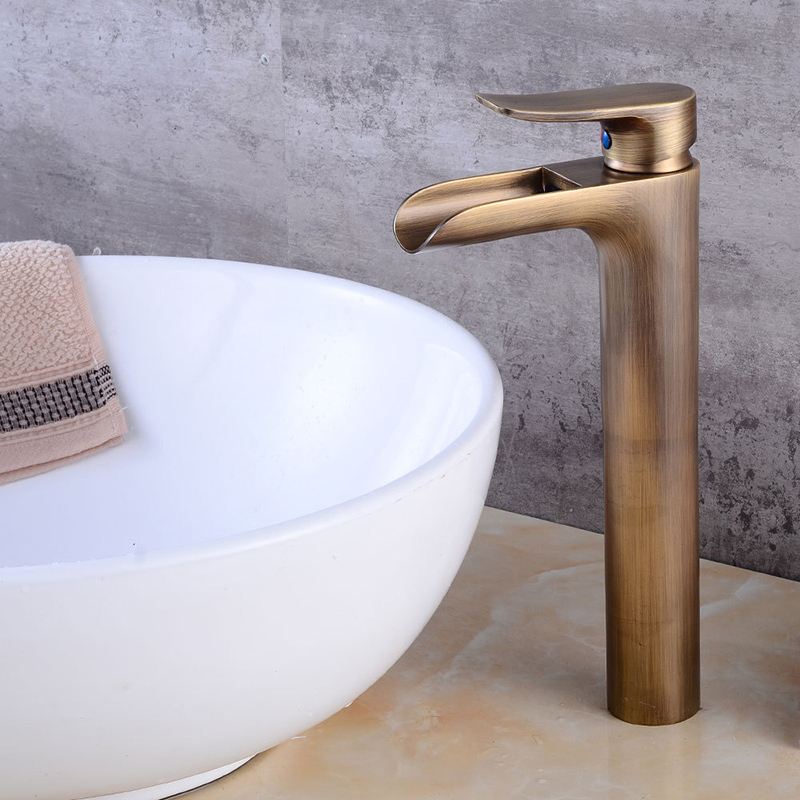 Basin faucet waterfall faucet antique bronze bathroom - Oil brushed bronze bathroom faucets ...