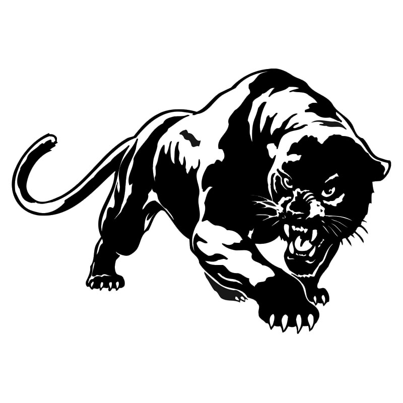 19.5 * 13.6CM Fiery Wild Panther Hunting Car Body Decal Calcomanías para automóviles Decoraciones de motocicletas Negro / Plata C9-2149