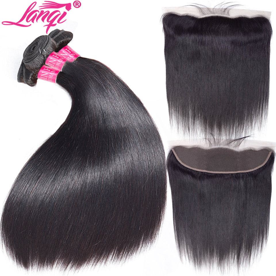 Straight Human Hair Bundles with Frontal closure Peruvian Hair Weave bundles with closure Ear To Ear