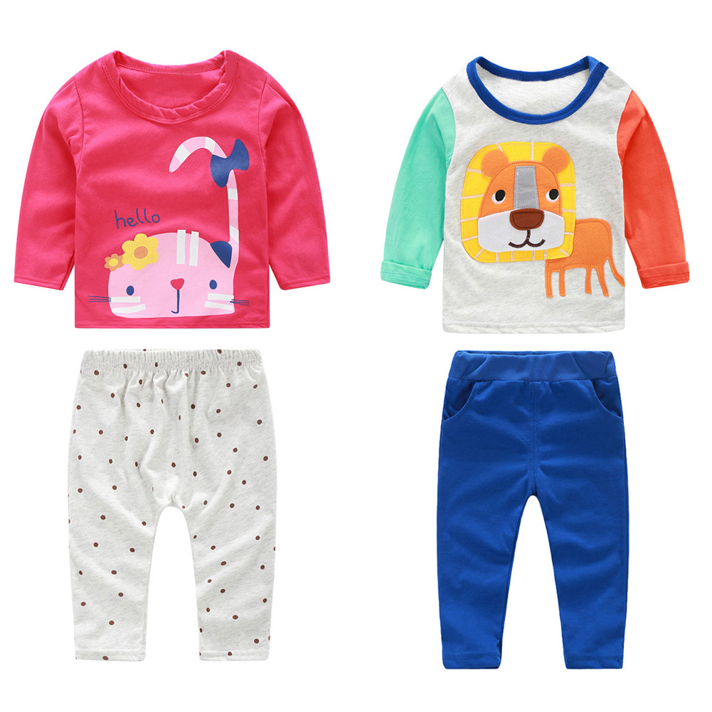 2Pcs Baby Clothing Set Newborn Kids Baby Infant Outfit Long Sleeve Cotton T-Shirt+ Pant Clothes Set 0 to 24 Months FCI# christmas kid baby boys girls clothing set deer pyjamas nightwear sleepwear long sleeve t shirt pant 2pcs xmas clothing