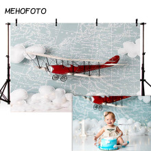 MEHOFOTO Airplane Backdrop Little Boy Pilot Baby Shower Decorations Background Newborn Birthday Party Photography Backdrops