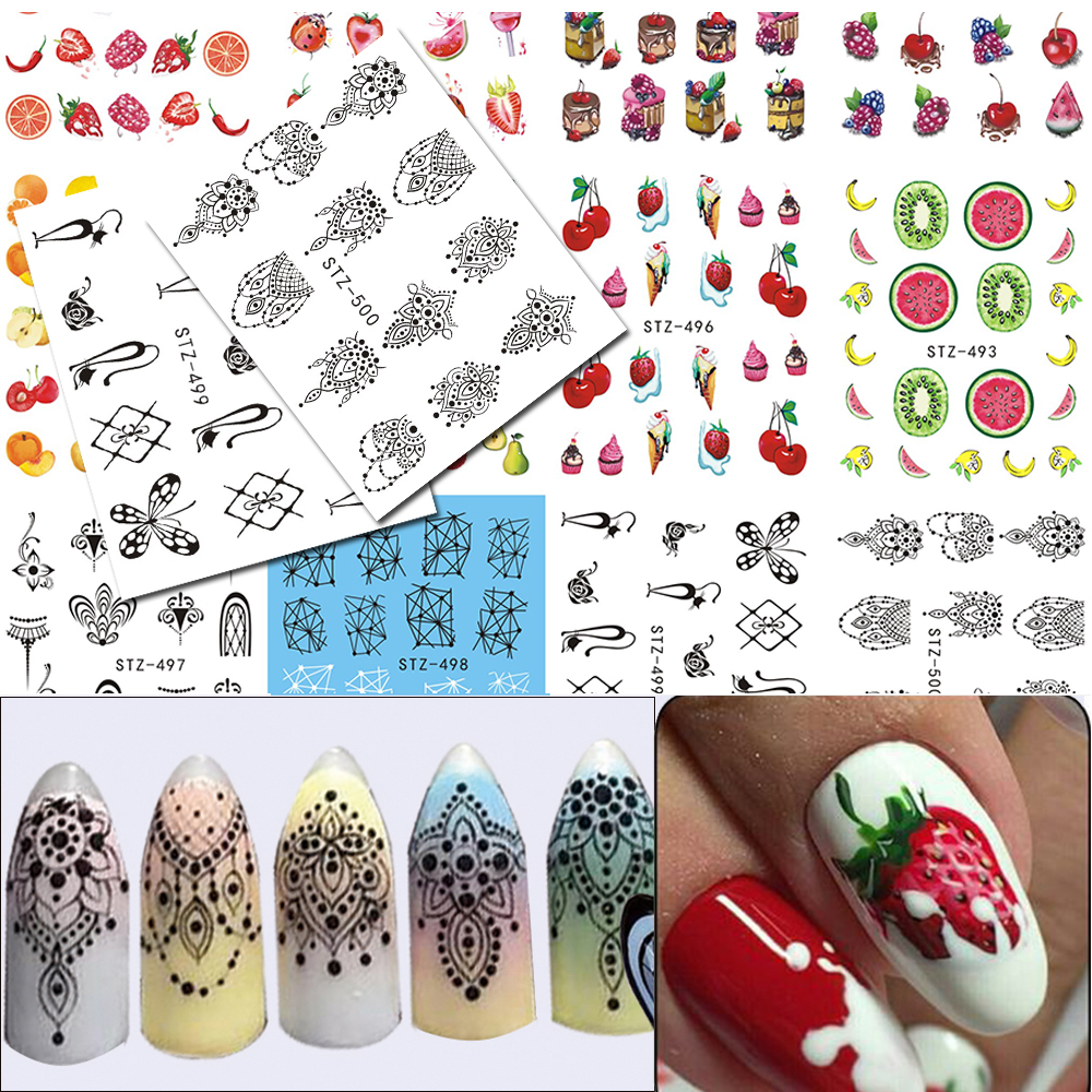 12Sheets Necklace Jewelry/Fruit Water Nail Sticker Nail Art Water ...