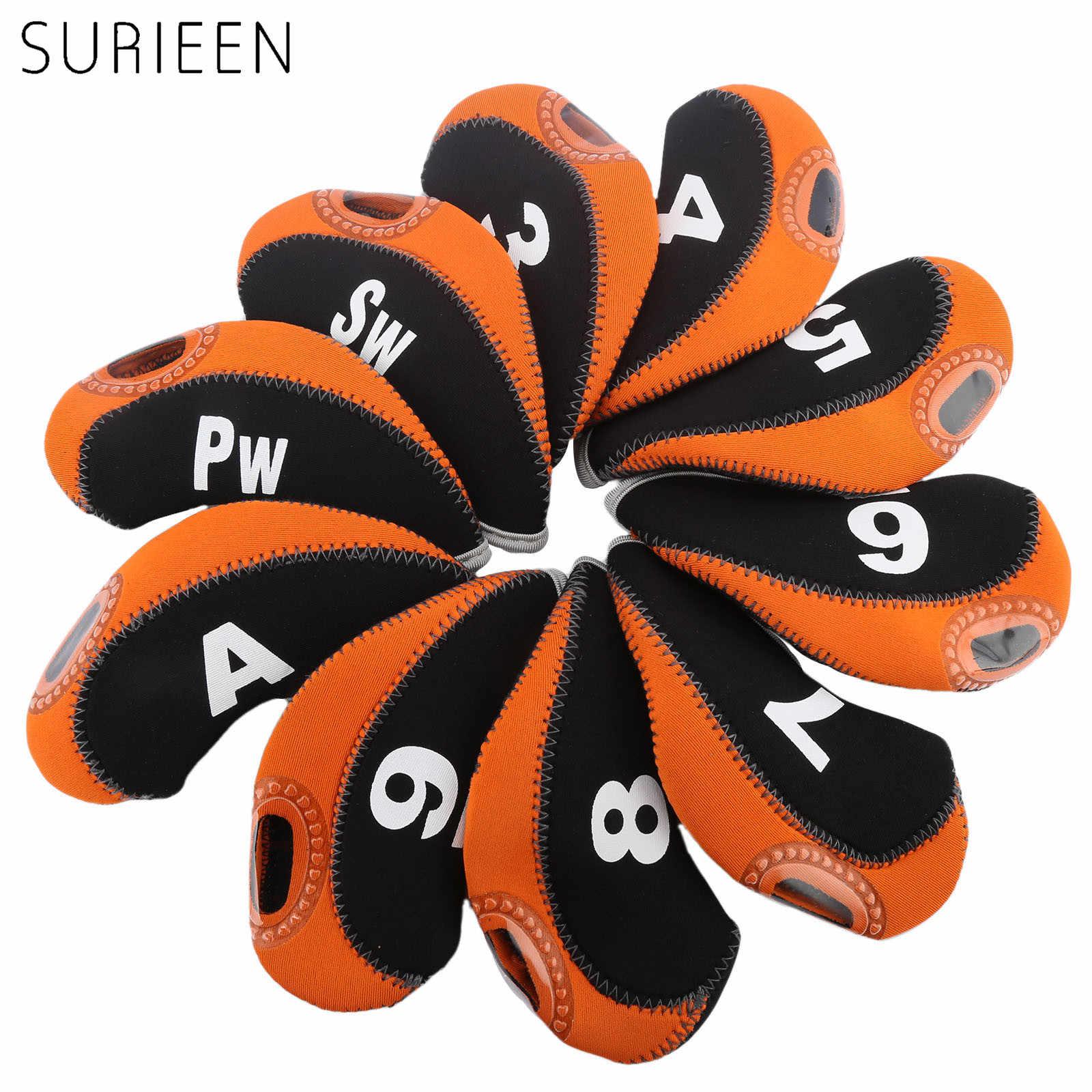 10 piezas de cubierta de cabeza de Golf Club de Golf de hierro Putter Protector de cabeza accesorios de palos de Golf Putter cubierta 3 4 5 6 7 8 9 PW SW un