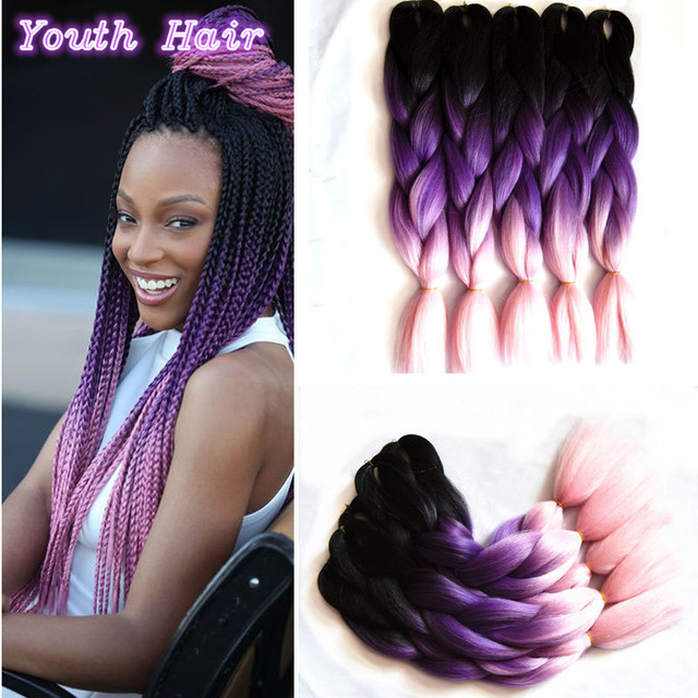 1 10 Pcs Free Shipping 24 100g Black Dark Purple Light Pink Ombre Lavender Kanekalon Jumbo