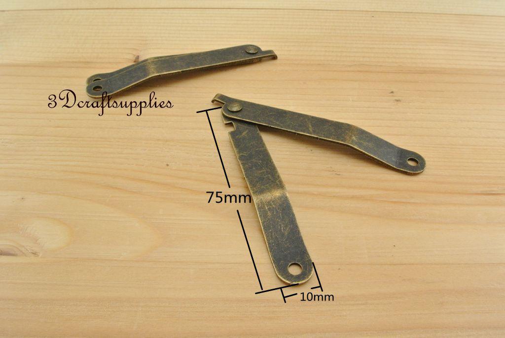 Металлические петли деревянная коробка сигар ювелирных изделий анти латунь 75 мм 10 шт. AT24