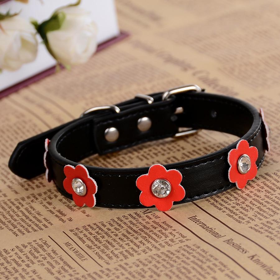 Blommor Läder Pet Puppy Dog-Collar Rhinestones Pet Halsband Studded - Produkter för djur