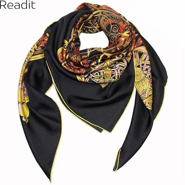 Real Silk Women Scarf 2017 New Fashion Big Square Silk Twill Scarf Printed Women Flower Silk Scarf Wraps For Summe/Autumn SC1705